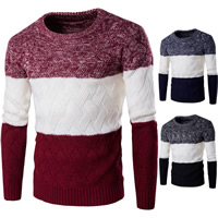 Cotton Men Sweater thermal knitted patchwork Sold By PC