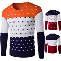 Cotton Men Sweater knitted patchwork Sold By PC