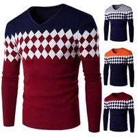 Cotton Men Sweater knitted geometric