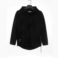 Cotton Men Sweatshirts loose Solid black