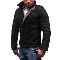 Polyester Plus Size Men Parkas, different size for choice & regular & thermal, patchwork, black, Sold By PC