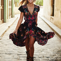 Chiffon One-piece Dress short front long back printed floral black Sold By PC