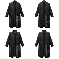 Polyester Plus Size Women Trench Coat patchwork black Sold By PC