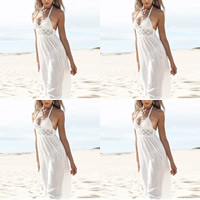 Chiffon Beach Dress backless off shoulder & floor-length & hollow with Lace patchwork white Sold By PC
