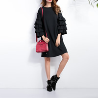 Polyester A-line Autumn and Winter Dress, different size for choice, patchwork, black, Sold By PC