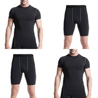 Spandex   Polyester Men Quick Dry Clothing Set short   top patchwork Sold By Set