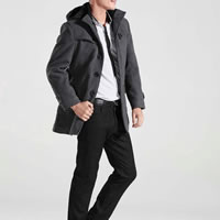 Polyester   Cotton Plus Size Men Trench Coat Solid