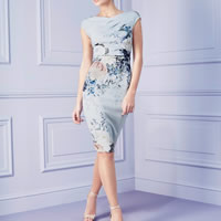 Spandex   Polyester One-piece Dress knee-length printed floral Sold By PC