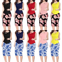Polyester Women Business Dress Suit, different size for choice & false two piece & different styles for choice, printed, different color and pattern for choice, Sold By PC