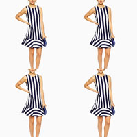 Polyester A-line One-piece Dress backless printed striped blue Sold By PC