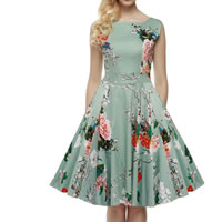 Polyester Princess One-piece Dress printed floral green Sold By PC