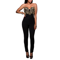Nylon Long Jumpsuit backless tube patchwork Sold By PC