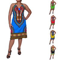 Polyester Halter Dress, backless & different size for choice & off shoulder, printed, more colors for choice, Sold By PC
