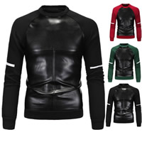 Polyester & Cotton Men Sweatshirts, different size for choice, with PU, patchwork, more colors for choice, Sold By PC