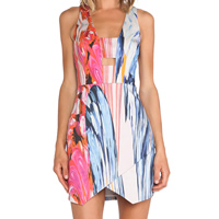 Polyester One-piece Dress geometric blue