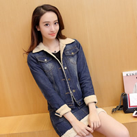 Denim Women Casual Set, different size for choice, skirt & coat, patchwork, blue, Sold By Set