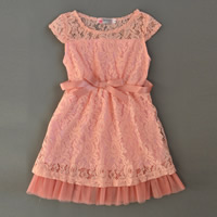 Polyester   Cotton Girl One-piece Dress with Lace patchwork