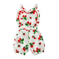 Polyester & Cotton Girl Clothing, different size for choice, printed, fruit pattern, white, Sold By PC