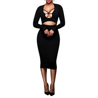 Polyester Crop Top Nightclub Set hollow & mid-calf skirt & top Solid Sold By Set
