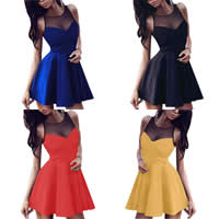 Polyester Sexy One-piece Dress transparent with Gauze patchwork Sold By PC