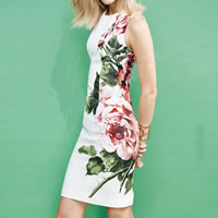 Polyester One-piece Dress printed floral white