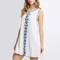 Polyester One-piece Dress embroidered geometric Sold By PC