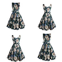 Cotton One-piece Dress, different size for choice, printed, floral, green, Sold By PC