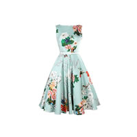 Cotton One-piece Dress with belt printed floral green Sold By PC