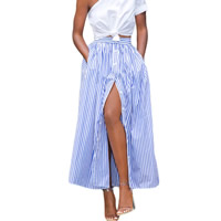Spandex & Polyester Skirt ankle-length printed striped blue and white Sold By PC