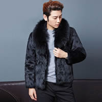 Artificial Wool Men Coat, different size for choice, Solid, black, Sold By PC