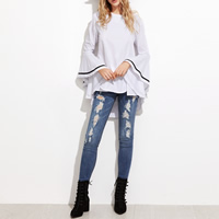 Polyester Women Long Sleeve Blouses, short front long back, patchwork, white, Size:Free Size, Sold By PC