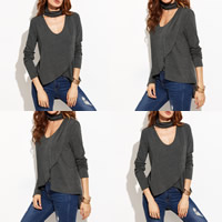 Cotton Women Long Sleeve Blouses, different size for choice & short front long back & loose, Solid, grey, Sold By PC