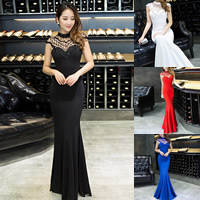 Polyester & Cotton Mermaid Long Evening Dress, different size for choice & floor-length & transparent & padded & with beading, with Gauze, patchwork, more colors for choice, Sold By PC