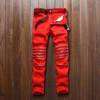Cotton Men Pencil Pants patchwork Sold By PC