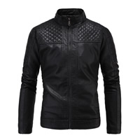 PU Men Jacket, different size for choice, Solid, black, Sold By PC