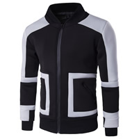 Polyester Men Jacket, different size for choice, patchwork, black, Sold By PC