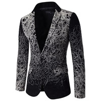 Polyester   Cotton Plus Size Men Leisure Suit geometric black