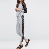 Polyester Women Sportswear Set hollow with Lace Pants   top patchwork grey