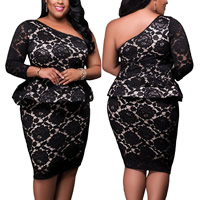 Spandex   Polyester Plus Size Sexy Shoulder Dress off shoulder   hollow with Lace patchwork black