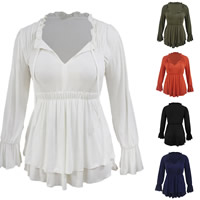 Spandex & Polyester Women Long Sleeve Blouses, different size for choice, Solid, more colors for choice, Sold By PC