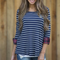 Polyester Women Three Quarter Sleeve T-shirt, different size for choice, printed, striped, deep blue and white, Sold By PC