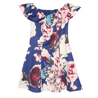 Polyester One-piece Dress, different size for choice, printed, floral, blue, Sold By PC