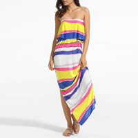 Polyester Beach Dress, backless & different size for choice & tube, printed, striped, white, Sold By PC