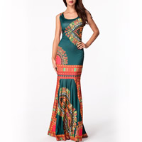 Polyester One-piece Dress, different size for choice & floor-length, printed, green, Sold By PC