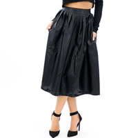 PU Leather Pleated Skirt Solid black Sold By PC
