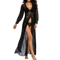 Spandex & Polyester Sexy Pajama Set, different size for choice & transparent, with Gauze & Lace, robe & T-back, patchwork, Sold By Set