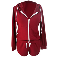 Spandex & Polyester Women Casual Set, different size for choice, Pants & top, patchwork, wine red, Sold By Set