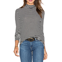 Polyester Women Long Sleeve T-shirt, different size for choice, striped, white and black, Sold By PC