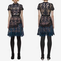 Polyester One-piece Dress, different size for choice & hollow, with Lace, patchwork, black, Sold By PC