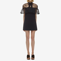 Cotton One-piece Dress, different size for choice & hollow, with Lace, patchwork, black, Sold By PC